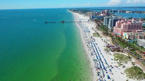 Beautiful Aerial view of Clearwater Beach Florida. Beautiful Aerial Footage of the City of Clearwater Beach in Florida stock footage
