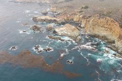 Beautiful Aerial View of Coastline in California royalty free stock photography