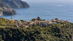 Beautiful aerial view of Corniglia and Manarola in the Cinque Terre nature park, Liguria, Italy stock photography