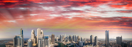 Beautiful aerial view of Dubai Marina skyscrapers at sunset Stock Images