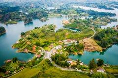 Beautiful aerial view of Guatape in Antioquia Stock Photo