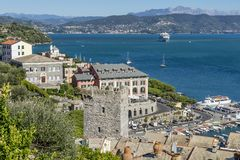 Beautiful aerial view of the Gulf of Poets from the Doria castle of Portovenere, Liguria, Italy stock photography