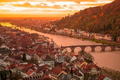 Beautiful aerial view of the Heidelberg old town. In Germany during orange sunset stock photos