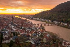 Beautiful aerial view of the Heidelberg old town during orange sunset Royalty Free Stock Images