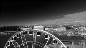Beautiful aerial view of Helsinki and ferris wheel, Finland.  stock photo