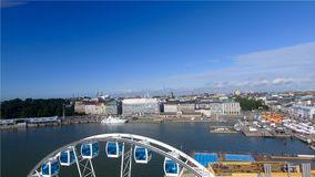 Beautiful aerial view of Helsinki and ferris wheel, Finland.  royalty free stock image