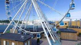 Beautiful aerial view of Helsinki and ferris wheel, Finland.  stock photos
