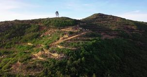 Beautiful aerial view of hill in Alor Setar Malaysia. Uring trekking stock video
