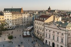 Beautiful aerial view of the historic center of Krakow, Poland. Europe stock image
