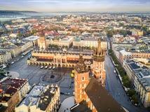 Beautiful historic market square at sunrise, Krakow, Poland stock photo