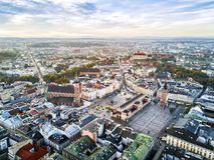 Beautiful historic market square at sunrise, Krakow, Poland Royalty Free Stock Photography