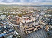 Beautiful historic market square at sunrise, Krakow, Poland Stock Images