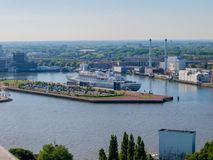 Beautiful aerial view of a hotel cruise on a wonderful day. In the city of Rotterdam in the Netherlands Holland stock photo