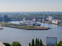 Beautiful aerial view of a hotel cruise in the city of Rotterdam royalty free stock photo