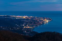 Aerial view of Sochi and sea, Russia stock photo