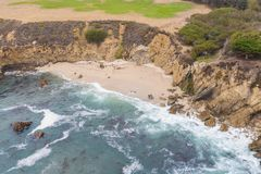 Beautiful Aerial View of Isolated Beach in California stock photo