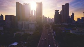 Beautiful aerial view of Jakarta cityscape with modern buildings silhouette Stock Images