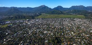 Beautiful aerial view of Kailua, Oahu Hawaii on the greener and rainier windward side of the island. This is an aerial view of beautiful Kailua, Oahu, Hawaii on stock image