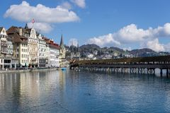 Beautiful aerial view Lake Lucerne, city the spring season, boats and ships stock photography