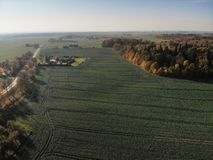 Beautiful aerial view of lithuanian landscape at autumn stock photo