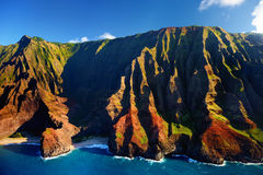 Beautiful aerial view of Na Pali coast Royalty Free Stock Photography