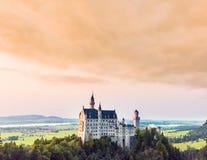 Beautiful aerial view of Neuschwanstein castle in summer season Royalty Free Stock Image