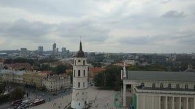 AERIAL view of Bell tower in Vilnius, Lithuania. Flight around Varpines bokstas. stock video