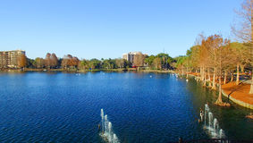 Beautiful aerial view of Orlando skyline over Lake Eola, Florida.  Royalty Free Stock Photography