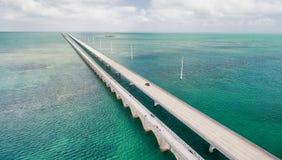 Beautiful aerial view of Overseas Highway Bridge, Florida Royalty Free Stock Images