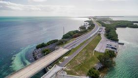 Beautiful aerial view of Overseas Highway Bridge, Florida Stock Photo