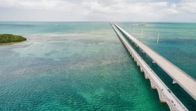 Beautiful aerial view of Overseas Highway Bridge, Florida Royalty Free Stock Photos