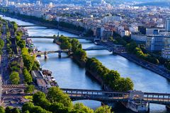Scenic panorama of Paris from Eiffel tower royalty free stock images