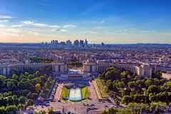Scenic panorama of Paris from Eiffel`s tower stock photography