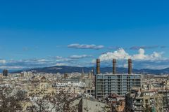 Beautiful aerial view of a part of the city of Barcelona Spain royalty free stock photo