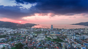Beautiful aerial view of Patong beach over city Royalty Free Stock Photo