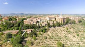 Beautiful aerial view of Pienza, small medieval town of Tuscany Stock Photography
