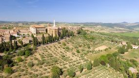 Beautiful aerial view of Pienza, small medieval town of Tuscany Stock Photos
