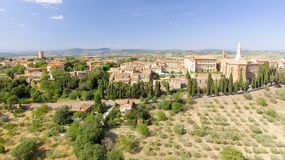 Beautiful aerial view of Pienza, small medieval town of Tuscany Stock Images