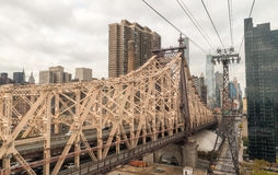Beautiful aerial view of Queensboro Bridge connecting Manhattan royalty free stock image