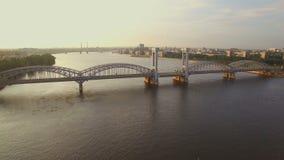 Beautiful aerial view of the railway bridge across the river stock video