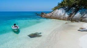 Beautiful aerial view of Rawa island. White sandy beach in Malaysia royalty free stock photography