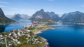 Beautiful aerial view of Reine, Lofoten, Norway, sunny arctic summer royalty free stock images