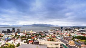 Beautiful aerial view of Reykjavik, city of Iceland royalty free stock images
