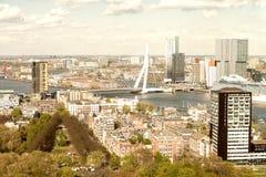 Beautiful aerial view of Rotterdam skyline.  Stock Photos