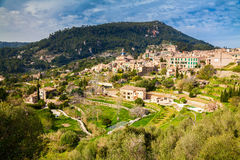 Beautiful aerial view of the small village Valldemossa Stock Image