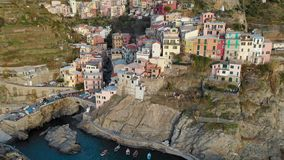 Aerial view of Manarola, the second-smallest of the Cinque Terre towns, Liguria, Northern Italy. stock video