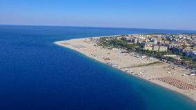 Beautiful aerial view of Soverato coastline and beaches in summe Royalty Free Stock Photos