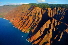 Beautiful aerial view of spectacular Na Pali coast Stock Photography