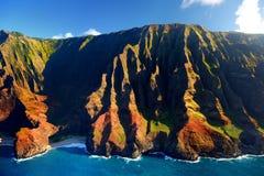Beautiful aerial view of spectacular Na Pali coast, Kauai. Hawaii Stock Images