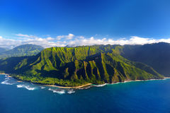 Beautiful aerial view of spectacular Na Pali coast, Kauai royalty free stock photo